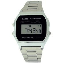 Casio Gents Digital Dial with Light & Alarm Stainless Steel Watch A158WEA-1EF
