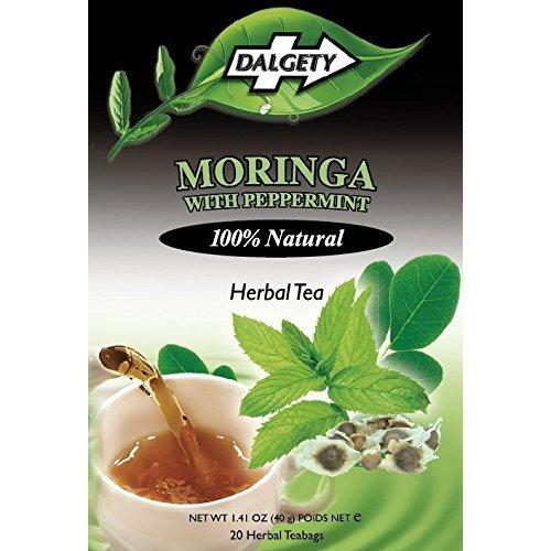 DALGETY MORINGA with PEPPERMINT 100% Natural HERBAL TEA [20 Bags]