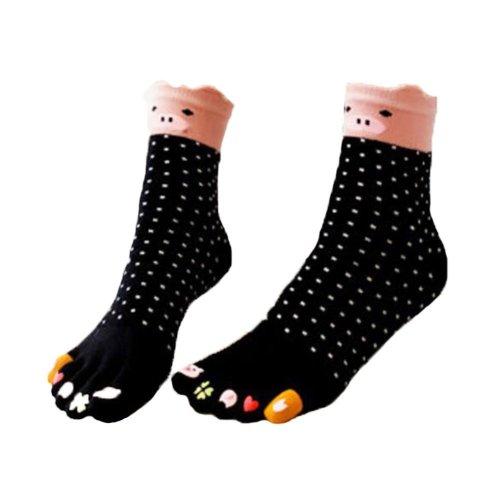 Breathable Cartoon Tube Toe Scoks Black Cotton Socks