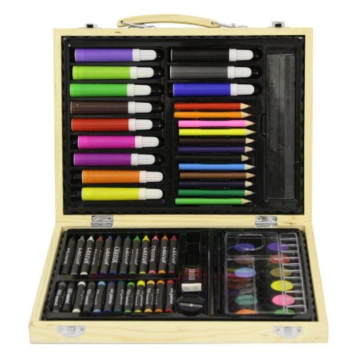 Childrens 67 Pc Craft Art Artists Set Wooden Box Case Crayons Paints Pens Pencil