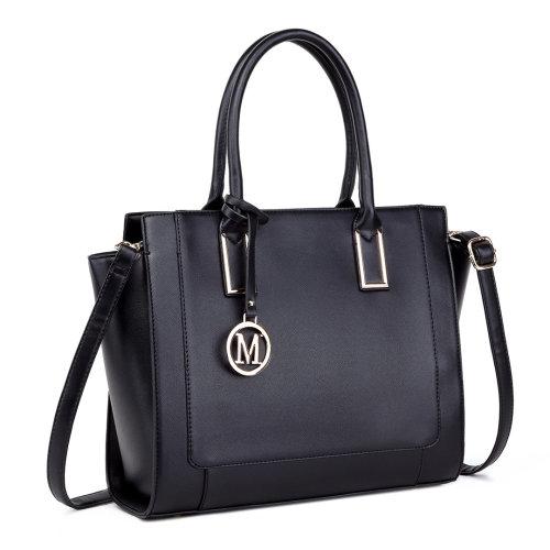 Miss Lulu Women Leather Handbag Shoulder Bag Tote Black