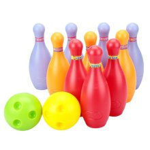 Big Plastic Bowling Ball Set, 2 Balls And 10 Pins, Colorful