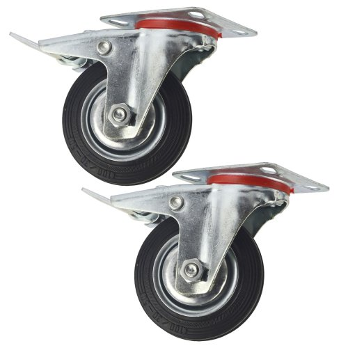 """4"""" (100mm) Rubber Swivel With Brake Castor Wheels Trolley Caster (2 Pack) CST05"""