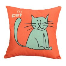 Decor Cotton Linen Decorative Throw Pillow Case Cushion Cover,Blue Cat