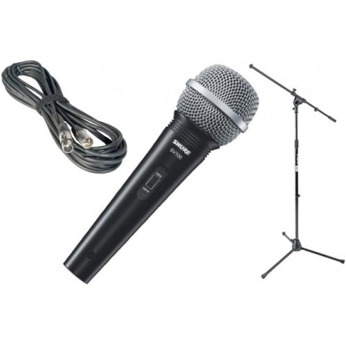 SHURE Mic Kit SV100 Microphone with 4.5 m 6.3 mm Jack/XLR Lead and NJS boom Mic Stand Mic clip
