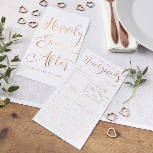Rose Gold Foiled Advice for the Newlyweds Cards Pack of 10 Botanics