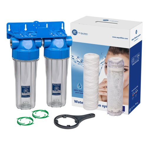 """Double 10"""" Inline Filter Housing Set Water Scale Reduction 3/4"""" BSP Thread"""