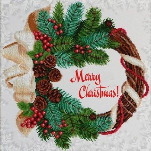 VDV Bead Embroidery Kit - Large Merry Christmas Wreath - 35 x 35 cm