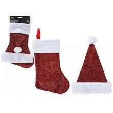 Shiny Santa Hat & Stocking Set - Sparkly Glitter Christmas -  sparkly glitter santa hat christmas stocking set