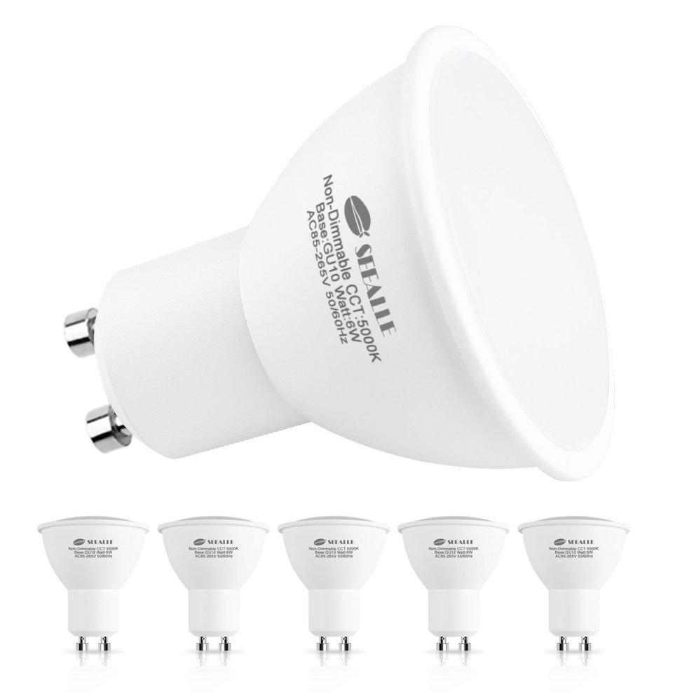 Led BulbsSeealle Cool Dimmable 500 LumenNon 6w Equivalent5000k Light 120°beam White Halogen Gu10 50w F3TlcJK1