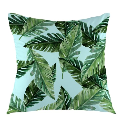 """Melyaxu Palm Tree Leaves Throw Pillow Cover Tropical Pillow Case Square Cushion Cover for Sofa Couch Home Bedroom Decorative 18"""" x 18"""" Green"""