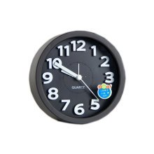 Desk Candy Colors Creative Small Alarm Clock with Loud Alarm Bell (Round,Black)