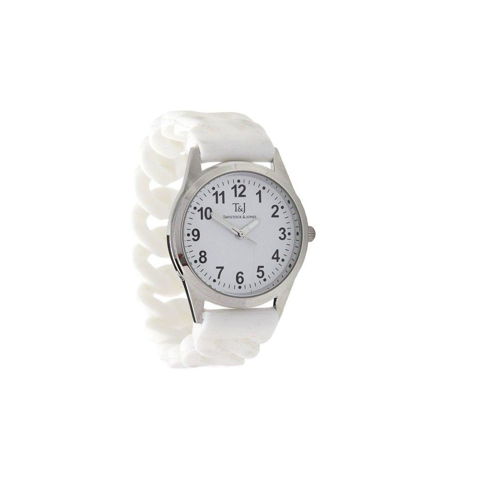 (White) Silicone Stretch Band Watch