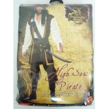 Large Mens High Seas Pirate Costume -  pirate costume high seas mens fancy dress adult jack outfit captain