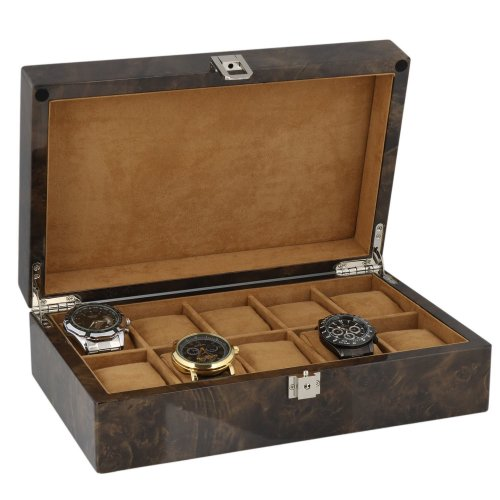 Watch Collectors Box for 10 Wrist Watches in Dark Burl Wood with Solid Lid by Aevitas