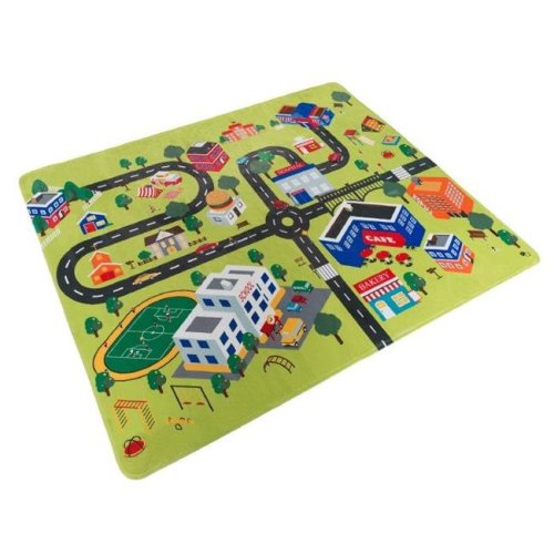 Hey Play 80-PM1 Microfiber Flannel Fleece & Foam Baby Mat with Non Slip Back & City Scene for Toddlers, Boys & Girls