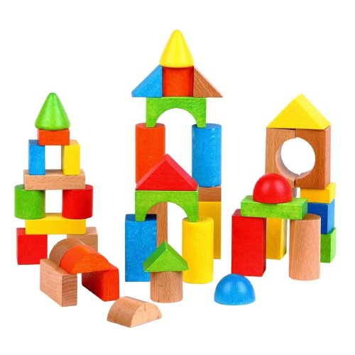 Lelin [50 Blocks] Wooden Building Shape Bricks Construction Blocks For Children Kids