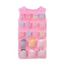 24-Pocket Double-sided Underwear Bra Socks Hanging Organizer Net Yarn Style Pink