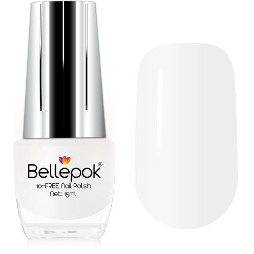 Bellepok 10-FREE Nail Polish - White Luna | Non-Toxic White Nail Varnish