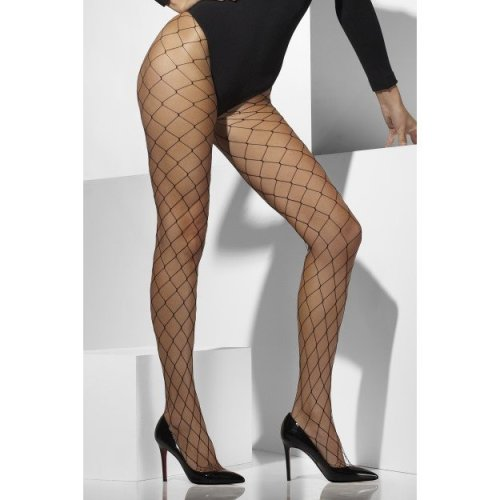 Black Diamond Net Tights -  diamond tights net black fancy dress fishnet ladies womens smiffys accessory
