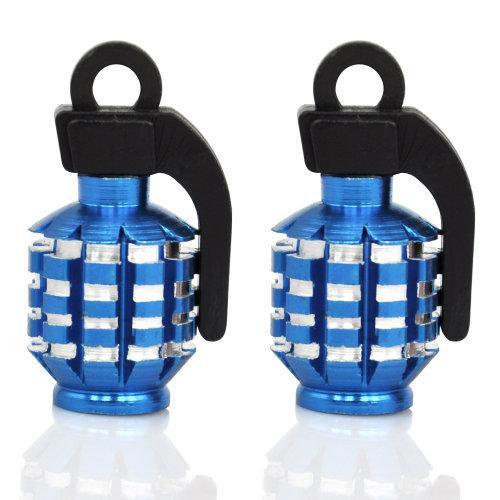 TRIXES Blue Pair of Hand Grenade Alloy Valve Dust Caps Motor Bike MTB BMX Car