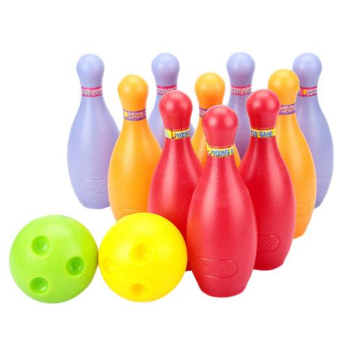 Big Plastic Bowling Ball Set, 2 Balls And 10 Pins, Colorful