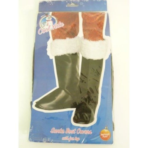 Santa Boot Covers With Fur -  santa boot covers black fur christmas fancy dress father accessory costume