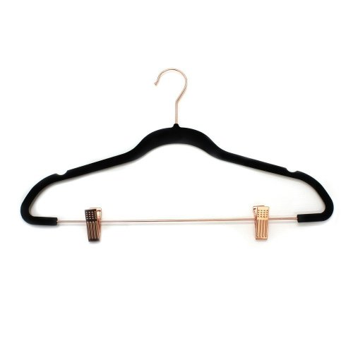JVL Velvet Touch Space Saving Non-Slip Hangers with Clips, Black/Rose Gold, Pack of 10, Recycled ABS Plastics, Nylon, Copper, Bar and Hook, 45 x...