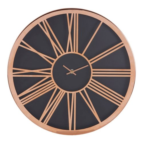 Baillie Black Face Round  Wall Clock, Rose Gold