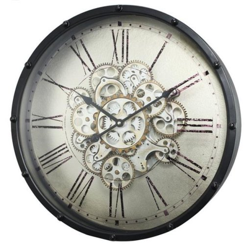 A&B Home 40053 18 x 4.5 in. Roman Numeral Gear Wall Clock, Black