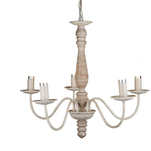 5 Light Ceiling Wood Spindle Column Washed Brown