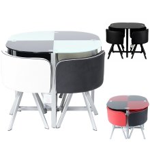 Charles Jacobs Dining Table With 4 Cushioned Chairs Set Round Tempered Glass Space Saver