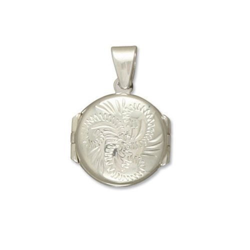 Childrens Sterling Silver Engraved Small Round Four Way Locket On A Curb Necklace