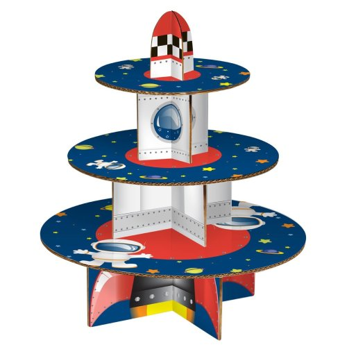 Rocket 3-Tier Cake Stand, Multi-coloured