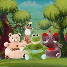 Toddler Plush Animal Sofa Seat | Giraffe, Elephant, Frog, Bear & Unicorn Chairs