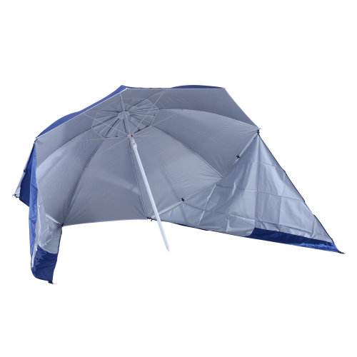 Outsunny UV Protection Fishing Beach Umbrella /w Side Panel Tent Blue - NO Base Included