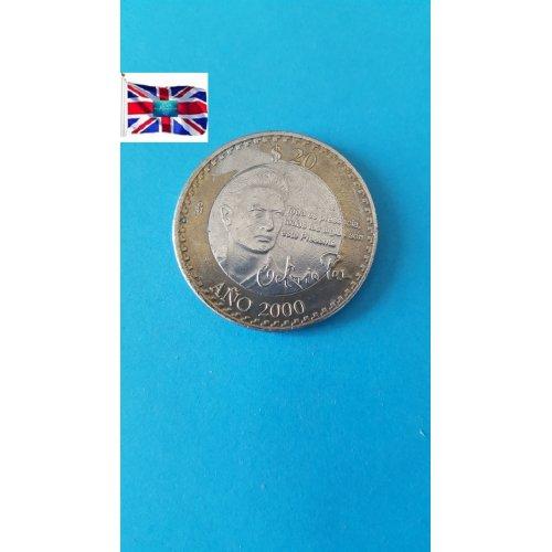 """Mexico (Estados Unidos) 2000 """"20 Pesos Octavio Paz"""