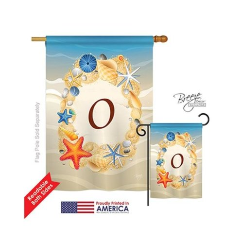 Breeze Decor 30171 Summer O Monogram 2-Sided Vertical Impression House Flag - 28 x 40 in.