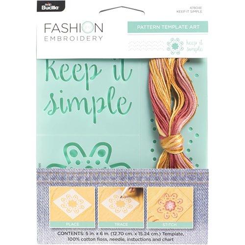 "Bucilla Fashion Embroidery Template Kit 5""X6""-Keep It Simple"