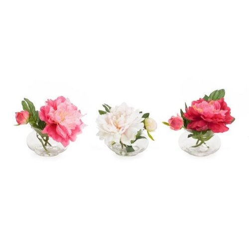 Melrose International 70554 5 in. Peony in Glass Vase Polyester & Glass, Pink White - Set of 3