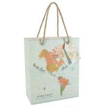 Wanderlust World Map Gift Bag Birthday Christmas Wedding Engagement Party Travel