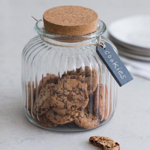 Cornbury Cookie Jar With Slate Tag | Cork Top Biscuit Jar