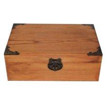 Creative Retro Lock With Wooden Box Desktop Rectangle Storage Box-Retro