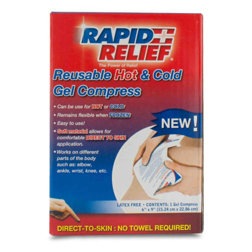 Rapid Relief Reusable Hot & Cold Gel Compress, Direct-to-Skin