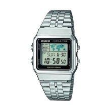 Casio Mens Quartz Watch Grey Dial Digital Display Stainless Bracelet A500WEA-1EF