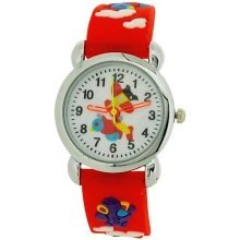Relda Childrens Boy's 3D Flying Aeroplane Red Silicone Strap Watch REL48