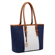 Miss Lulu Women Handbag Stripe Shoulder Bag PU Leather Tote