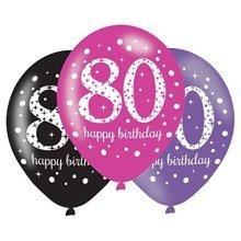 Black & Pink 80th Birthday Latex Balloons 11/27.5cm - /6