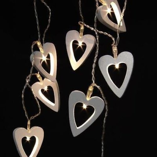 Battery Operated Wooden Hearts LED Fairy Lights