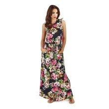 Pistachio, Ladies Maxi Printed Floral Dress, Navy, M (UK 12-14)